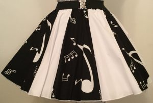 Black Music Notes & Plain White Panel Skirt