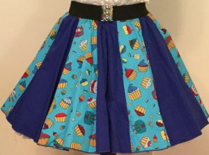 Blue Cupcakes & Plain Blue Panel Skirt