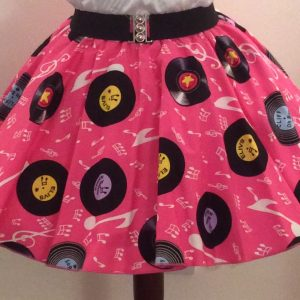 Childs Pink Records Print Circle Skirt
