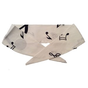 White with Black Music Notes Neckerchief