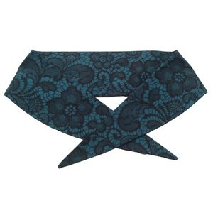 Jade / Black Lace Print Neckerchief.