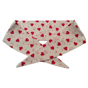 White with Red Hearts Neckerchief