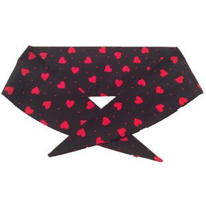 Black with Red Hearts Print Neckerchief
