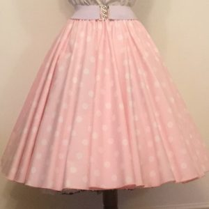 Pale Pink / White Polkadot Circle Skirt