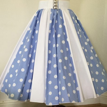 Light Sky Blue snd White PD / Plain White Panel Skirt