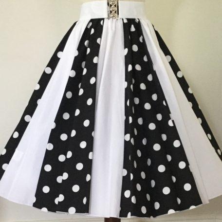 Black with white PD / Plain White Panel Skirt