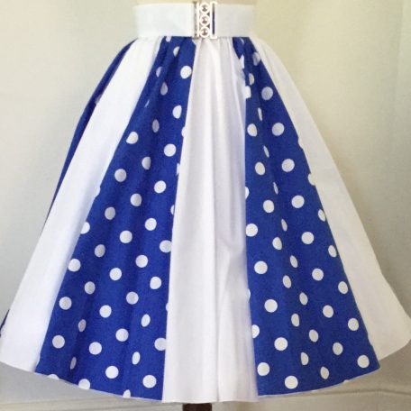Royal Blue with White PD / Plain White Panel Skirt