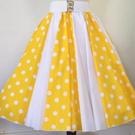 Yellow with White PD / Plain white Panel Skirt