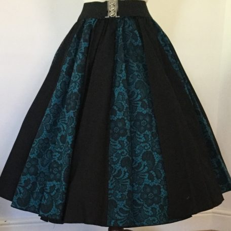 Jade Lace / Plain Black Panel Skirt