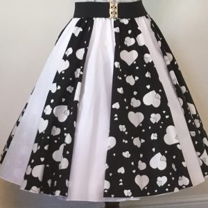 Black Random Hearts / Plain White Panel Skirt