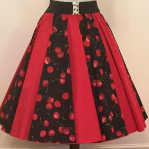 Black Cherries / Plain Red  Panel Skirt