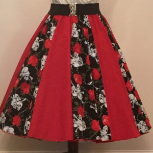 Skulls and Roses / Plain Red  Panel Skirt