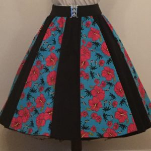 Turquoise Tropical/ Plain Black Panel Skirt