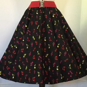Black with small multi coloured Music Notes print patterned skirt