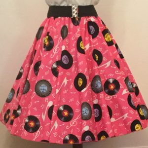 Pink  Records Print  Circle Skirt