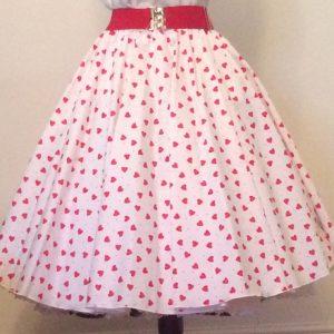White  / Red Hearts Print Circle Skirt