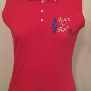 Ready Embroidered Raspberry /White Sleeveless Polo Shirt (Size 12)