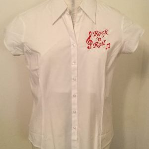 Ready Embroidered Short Sleeved White Blouse (Size 16)