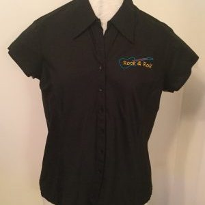 Ready Embroidered Cap Sleeved Black Blouse (Size 16)