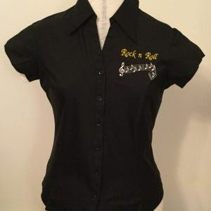 Ready Embroidered Cap Sleeved Black Blouse (Size 12)
